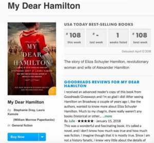 My Dear Hamilton hits USA Today Bestseller List. Thank you readers!